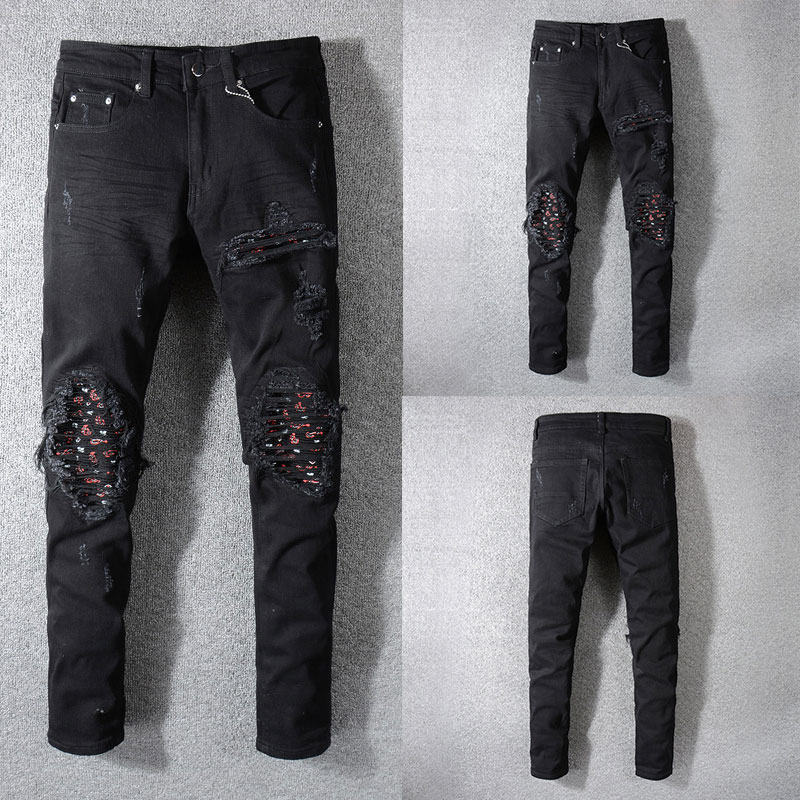 2019 New Fashion Designer Jeans Men Straight Black Color Men Jeans Ripped Jeans,100% Cotton Hole Zipper Fly Casual Men Pants