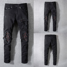 2019 New Fashion Designer Jeans Men Straight Black Color Ripped Jeans,100% Cotton Hole Zipper Fly Casual Pants