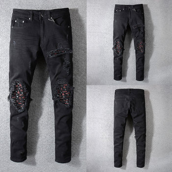 2019 New Fashion Designer Jeans Men Straight Black Color Men Jeans Ripped Jeans,100% Cotton Hole Zipper Fly Casual Men Pants цена 2017