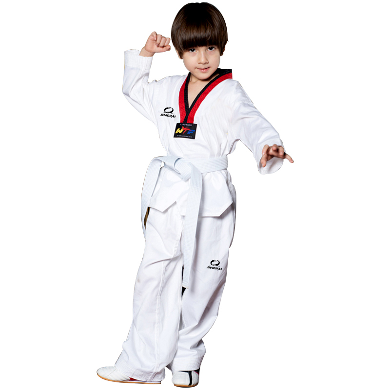 цена на 2017 New Arrivals Product Adult Male Female child kids Breathable cotton Taekwondo uniform WTF Approved Taekwondo dobok clothes