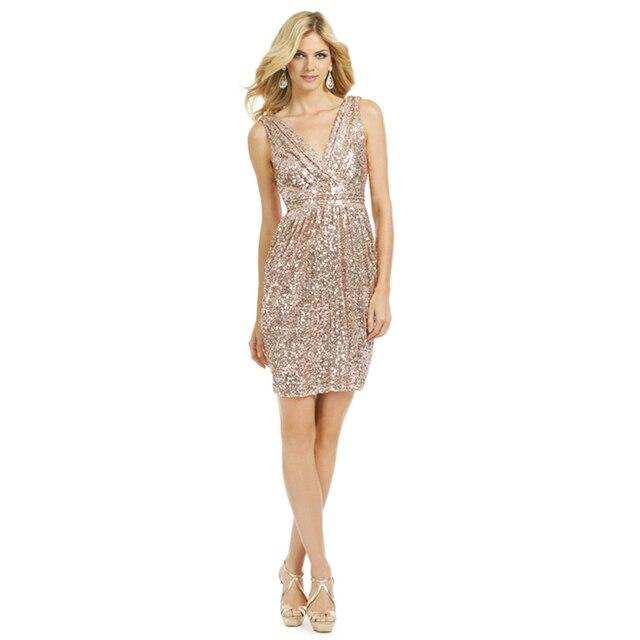 Sparkly V Neck Sheath Rose Gold Color Sequin Bridesmaid Dress