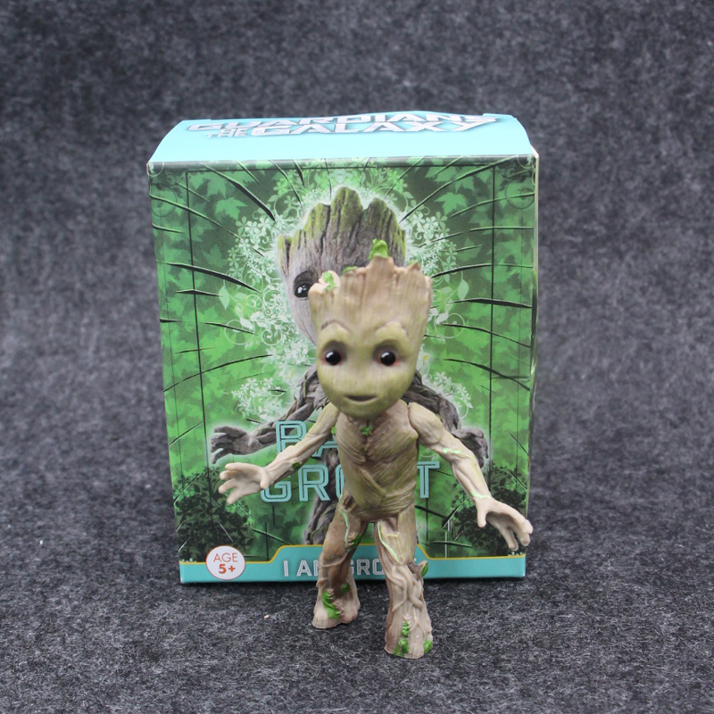 Marvel Guardians of The Galaxy Avengers Tiny Cute Baby Tree Man Stand Ver Action Figure Toys 10cm цена
