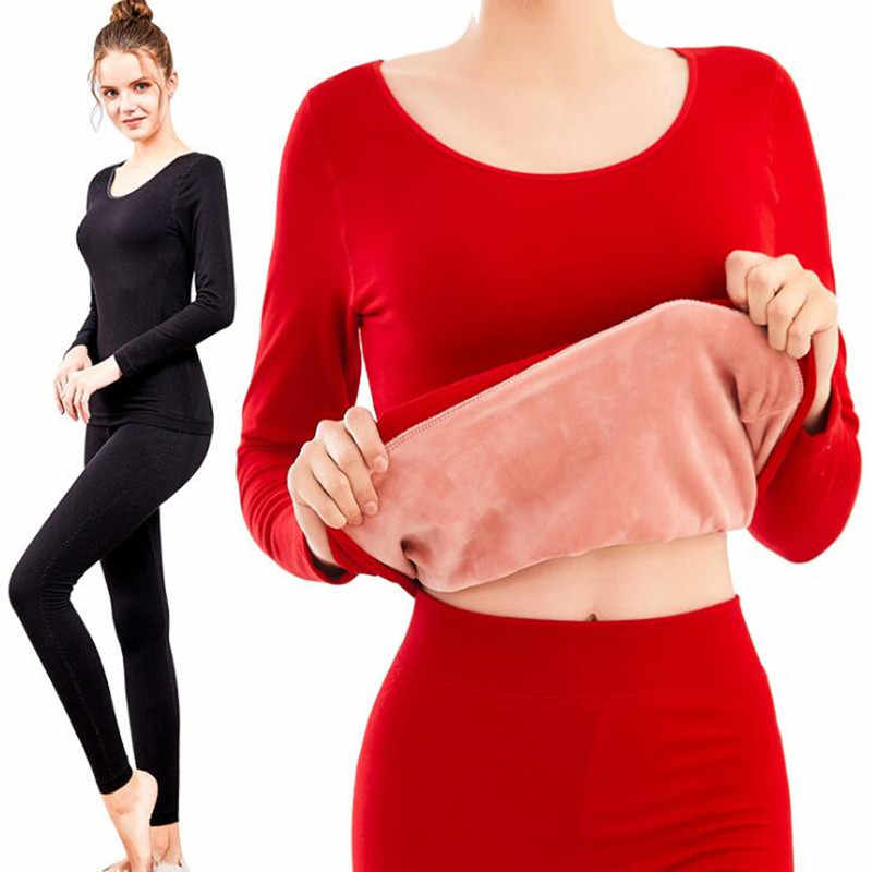 d3a6e607d9 Winter Thermal Underwear For Women Ladies Wool Cashmere Thick Fleece  Thermos Long Johns Velvet Warm Female