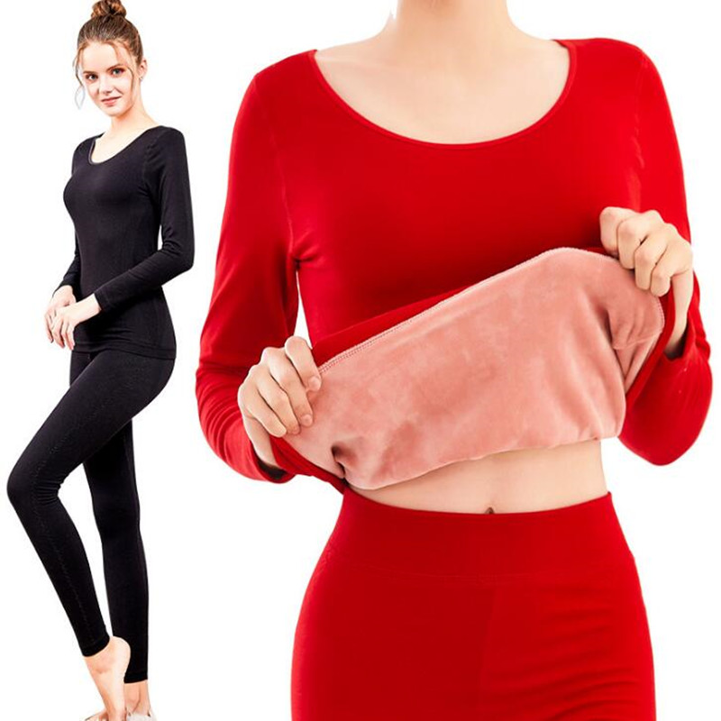 Winter Thermal Underwear For Women Ladies Wool Cashmere Thick Fleece Thermos Long Johns Velvet Warm Female Body Skin Clothes