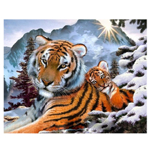 RIHE Tiger Family Diy Painting By Numbers Snow Mountain Oil On Canvas Hand Painted Cuadros Decoracion Acrylic Paint Art