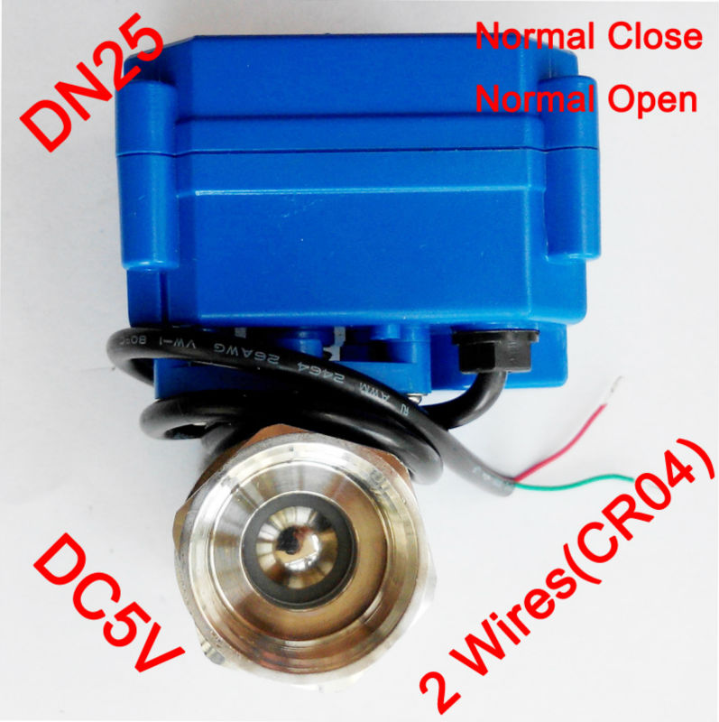 1 Miniature Electric valve 2 wires (CR04), DC5V Electric motorized ball valve SS304, DN25 electric valve spring return
