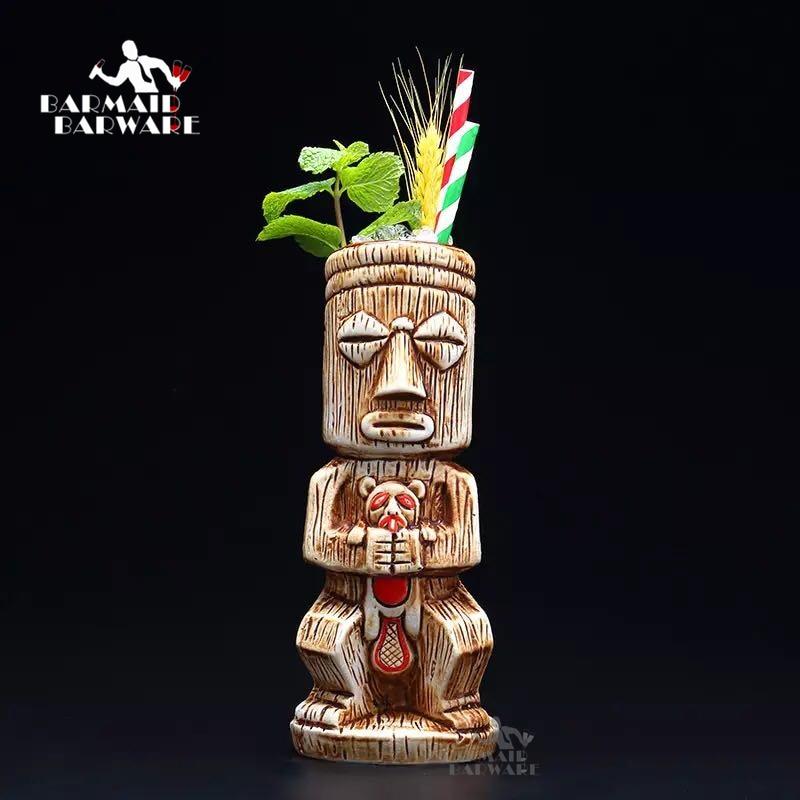 450ml Ceramic Tiki Mug Creative Porcelain Beer Wine Mug Cup Bar Tool