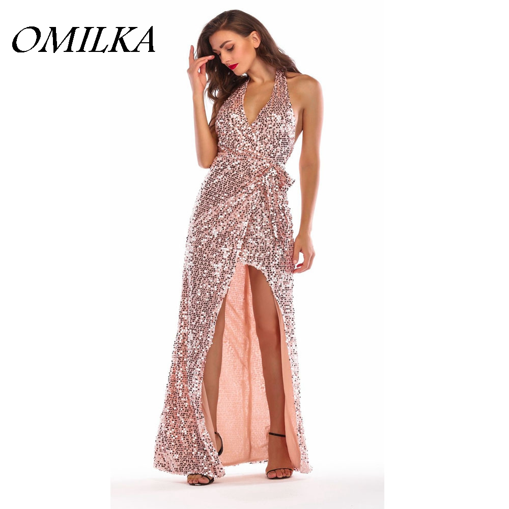 Detail Feedback Questions about OMILKA 2018 Summer Women Halter Backless  Shiny Glitter Sequin Dress Sexy Gold Front Short Back Long Club Party  Sequined ... 1aa530bf8905