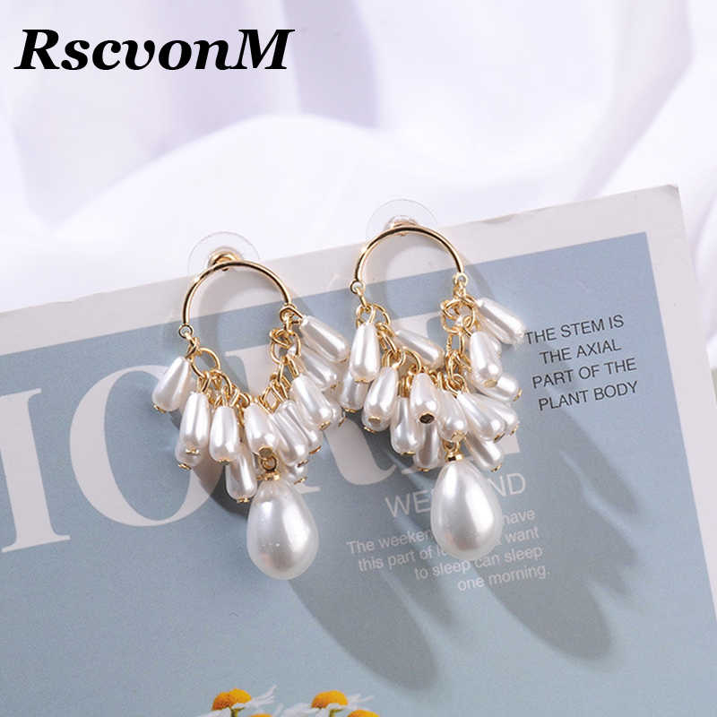 RscvonM 2019 New Korean Vintage Fan Shape Simulated Pearl Beads Stud Earrings Sweety Fashion Pendientes Party Jewelry Girl Gift
