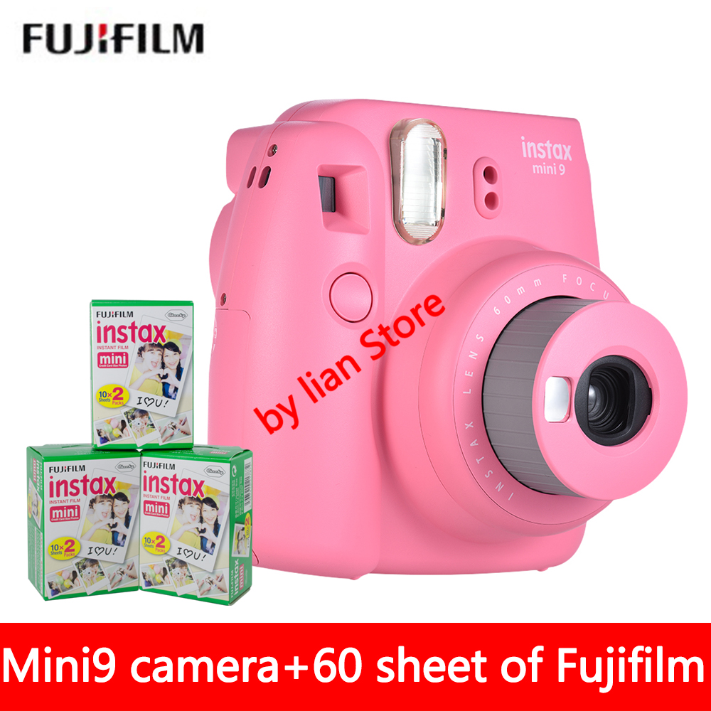 New 5 Colors Fujifilm Instax Mini 9 Instant Photo Camera + 60 sheet Fuji Instax Mini 8 White Film + Close up Lens fujifilm instax mini 9 camera 5 colors 10 shots fuji mini 9 instant film monochrome photo paper free shipping