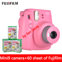 New 5 Colors Fujifilm Instax Mini 9 Instant Photo Camera + 60 sheet Fuji Instax Mini 8 White Film + Close up Lens