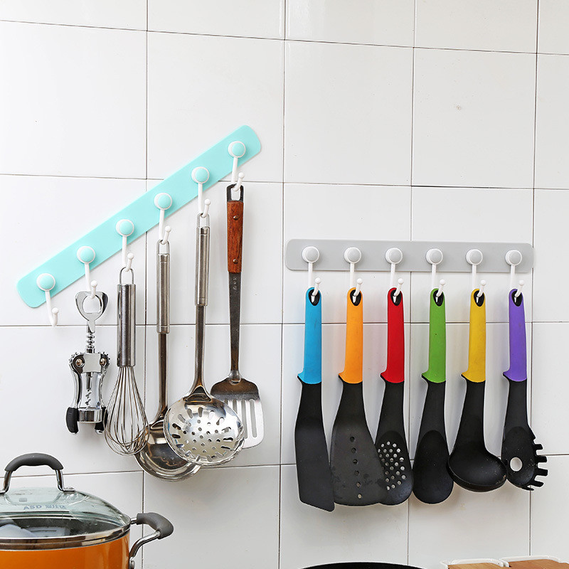 40*8cm Adhesive Door Wall Hook 6 Hooks Towel Hanger for Kitchen Bathroom Pink Keys Holder Coat Rack Organizer PP  Plastic Hooks