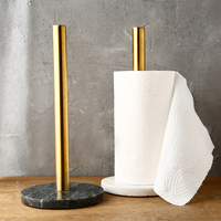 kitchen Paper towel holder High quality stainless steel Marble base Punch free Paper towel rack Storage Golden roll paper shelf