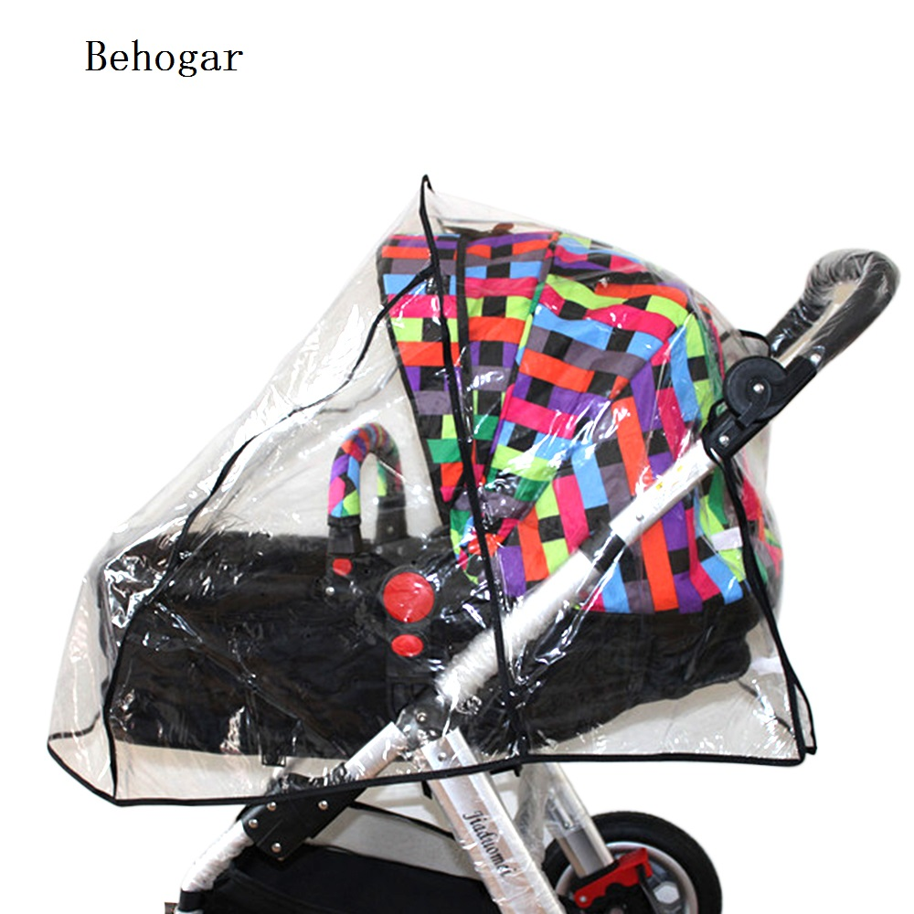 Behogar PVC Pushchair Baby Stroller Pram Buggy Transparent Rainproof Cover Rain Shade Protector Wind Dust Shield Accessories