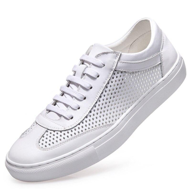 Masculinos De Genuíno Verão Da Couro Homens Oco 2018 Branco Marca Prata branco Dos Moda Novo Lazer Em Casuais Sapatos Respirável 5qWTwnppgt