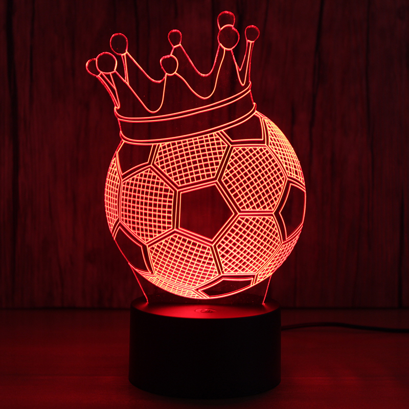 Creative 3D Illusion Lamp LED Night Lights Football Imperial Crown Novelty  Atmosphere Visual Lamp Table Lamp Cute Gift For Kids