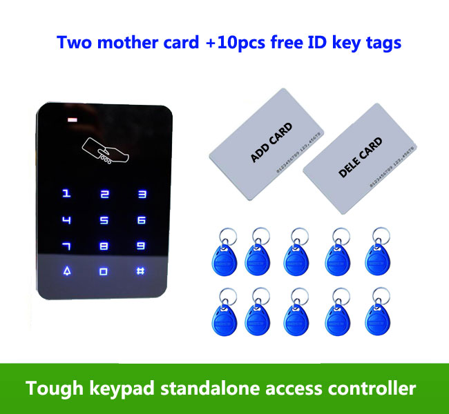 RFID standalone access control card reader with tough keypad, home/apartment/factory,2pcs mother card, 10pcs ID tags,min:1pcs proximity rfid 125khz em id card access control keypad standalone access controler 2pcs mother card 10pcs id tags min 5pcs