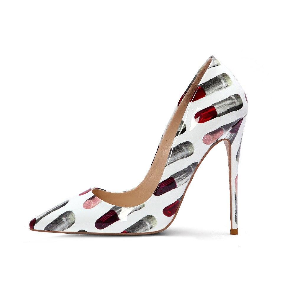 Sexy rouge à lèvres femmes pompes nouveau chaud bout pointu haut talon pompe printemps peu profond impression en cuir parti chaussures grande taille livraison gratuite