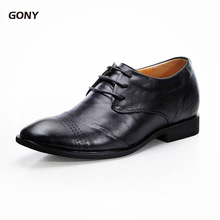 Newest 2018 Men's 100% Genuine Leather Dress Oxfords Height Increasing Shoes Grow Taller 7CM for Men Wedding Party