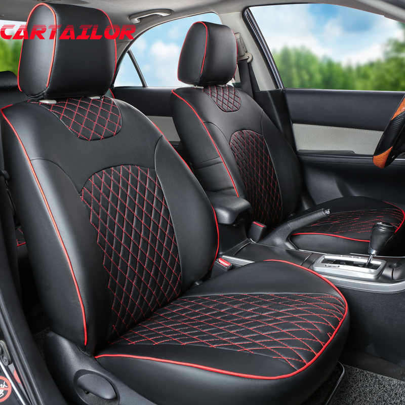 CARTAILOR black car interior accessories fit for Audi a6 seat covers & supports PU leather front & back seat cover protector set