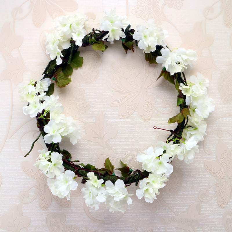 Image 4 - 230cm Silk Sakura Cherry Blossom Vine Lvy Wedding Arch Decoration Layout Home Party Rattan Wall Hanging Garland Wreath Slingers-in Artificial & Dried Flowers from Home & Garden
