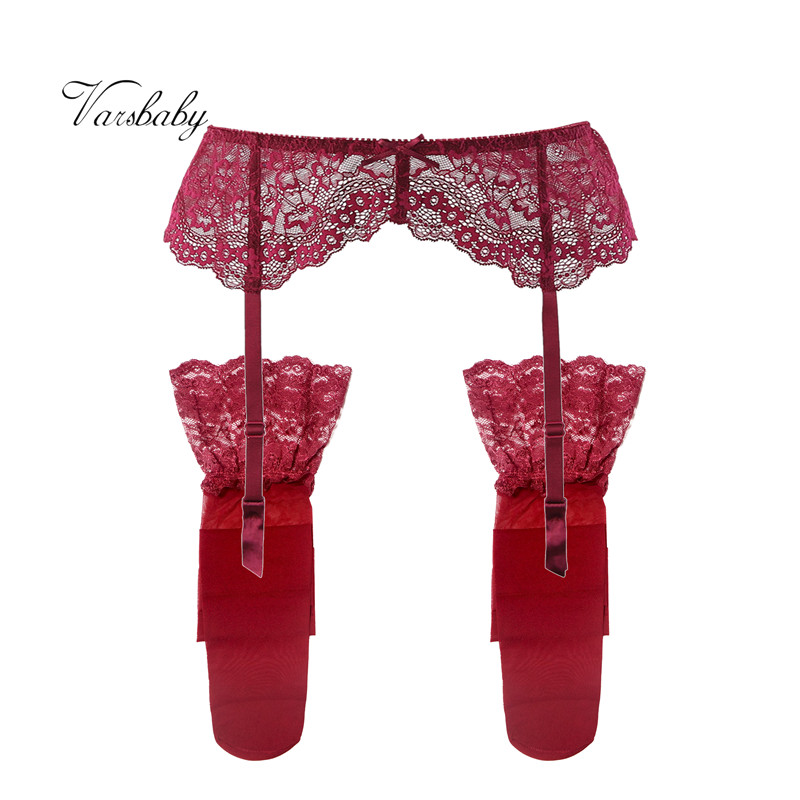 Varsbaby Sexy Black And Red Lace S-XL Garter Belt + Stockings 2 Pcs/lots Lingerie For Ladies