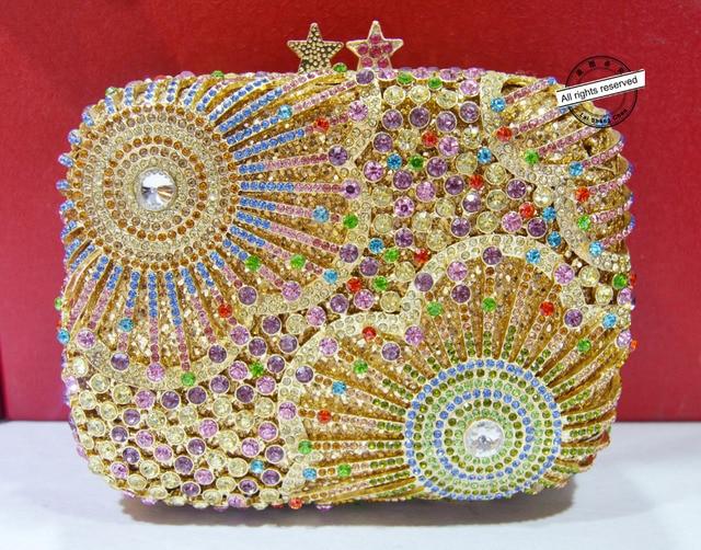 Stylish Golden With Metal Handle Luxury Crystal Evening Bag Wedding Rhinestone Party Purse
