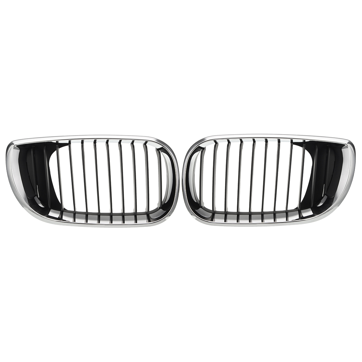 Pair L+R Chrome Car Front Kidney Grille Grill For BMW E46 3 Series 4-Door Saloon Estate 2001 2002 2003 2004 2005 51137030546