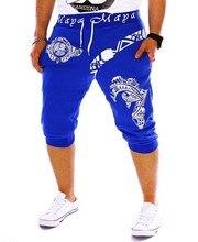 ZOGAA Men Summer Casual Slim Harlan Shorts Fashion Italian Print Design Fitness Cropped shortsCotton Tights Sports