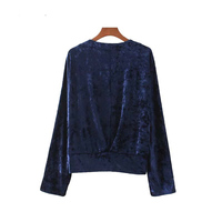 Women Sexy V Neck Velvet Shirts Rivet Beading Sequined Loose Blouse European Style Ladies Top Blouse