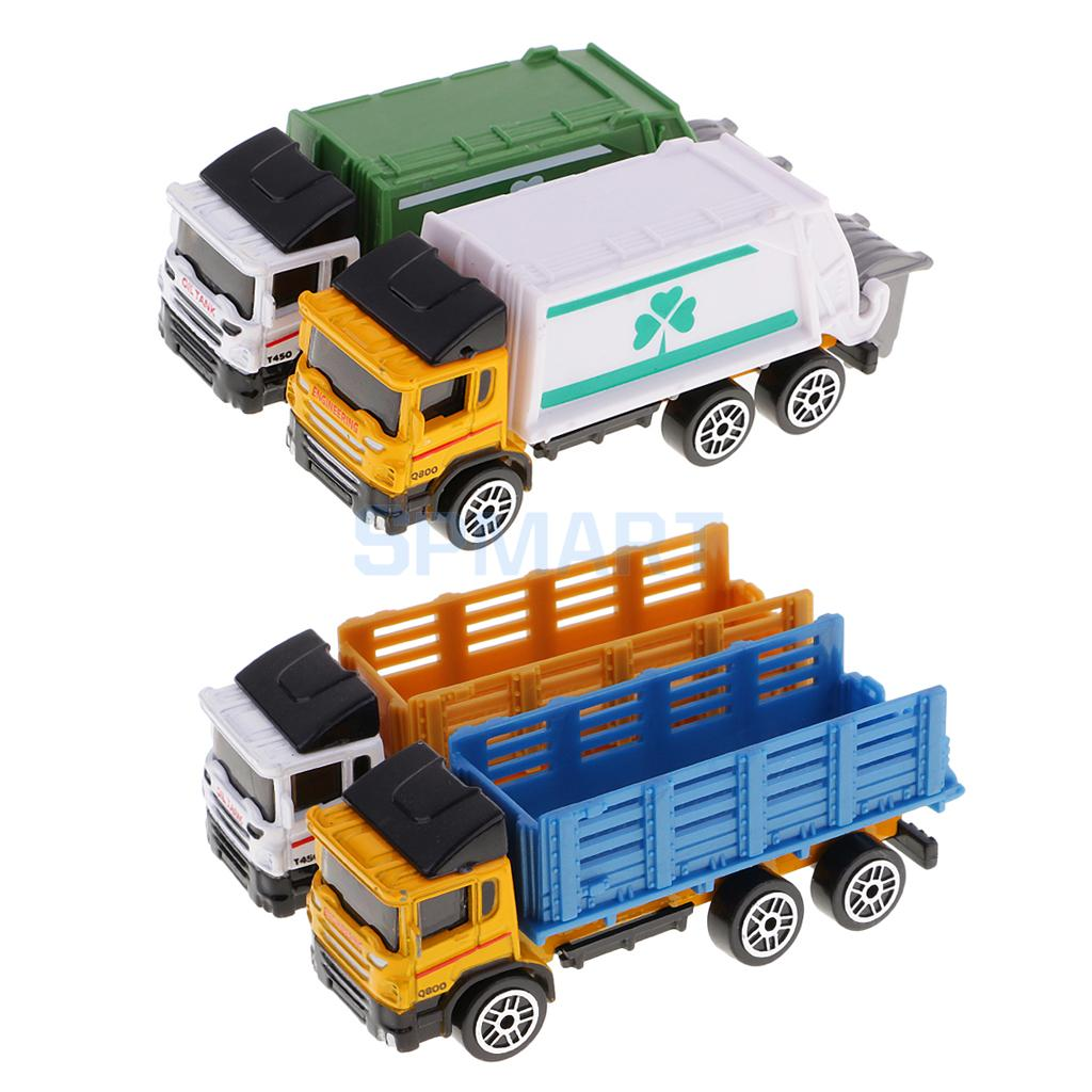2Pcs Plastic Painted Model Cars Truck Toys for Kids DIY Building Street Miniature Layout Landscape Scenery Accessory Parts