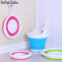 Folding bucket silicone car wash fishing travel home can be hanging folding