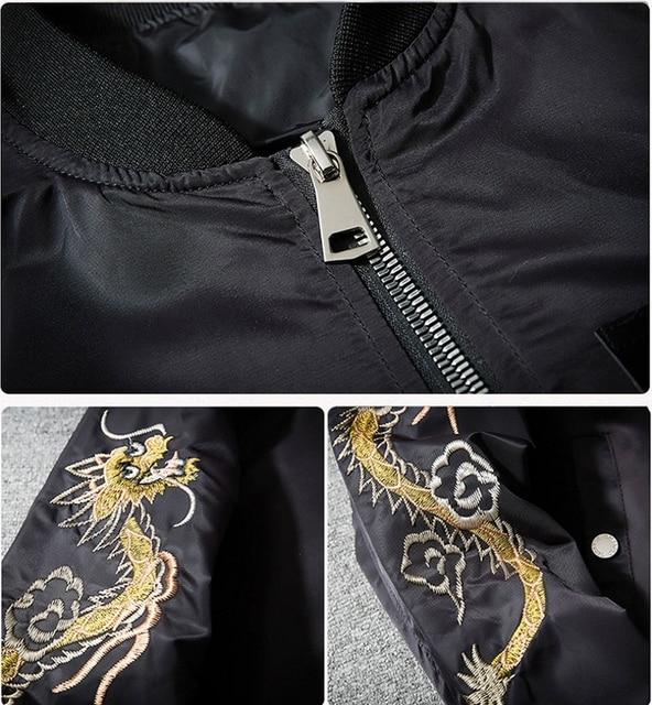 AmberHeard Fashion Spring Autumn Men Jacket Streetwear Dragon Eagle Embroidery Japan Black Bomber Jacket MA1 Flight Aviator Coat 4