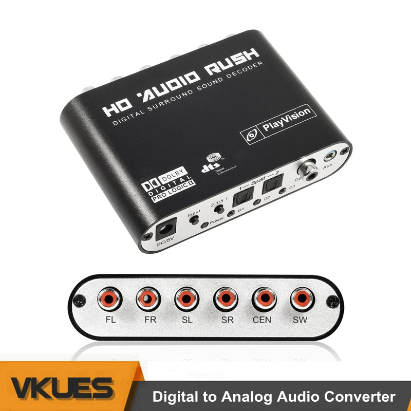 Óptico SPDIF Coaxial 3,5mm AUX a 6 RCA adaptador de Digital a analógico de Audio estéreo 5,1 convertidor DTS AC3 de Audio decodificador amplificador