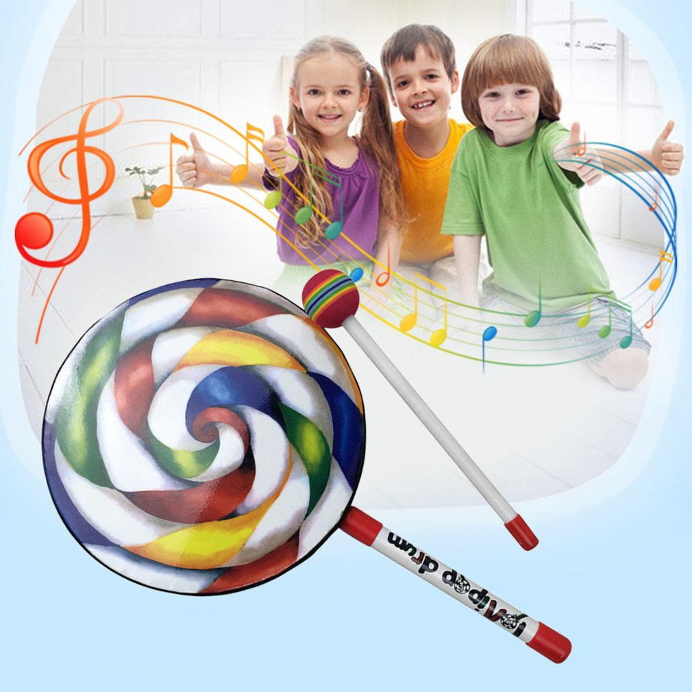 OCDAY Lollipops Pattern Colorful Drum Percussion Instrument For Kids Kindergarten Musical Teaching Early Education Baby Toy Gift