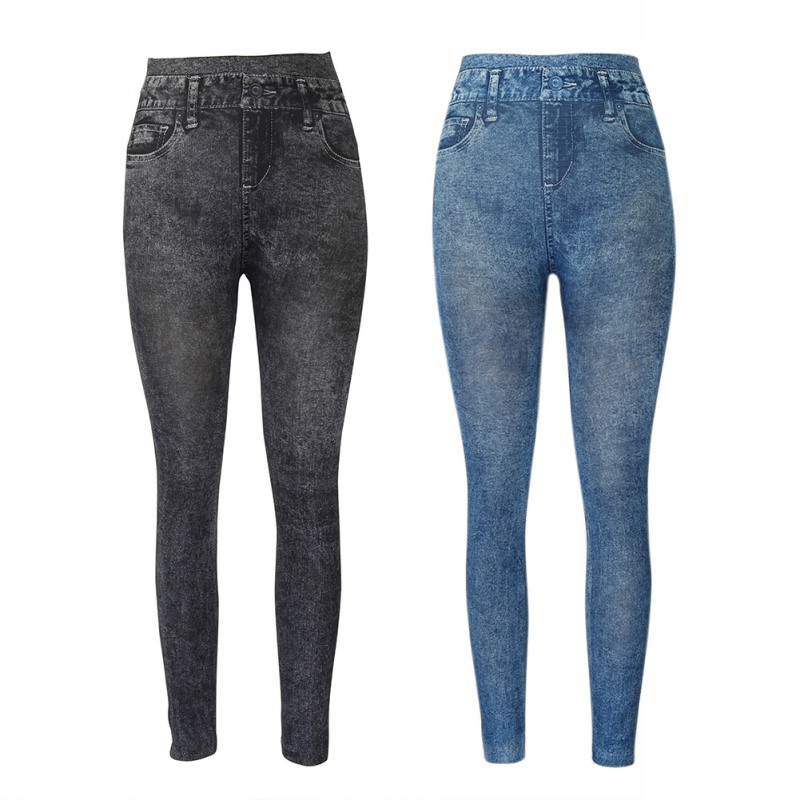 Fashionable Soft Leggings Polyester Explosions Of Solid Color Imitation Denim Ankle-Length Leggings European And American