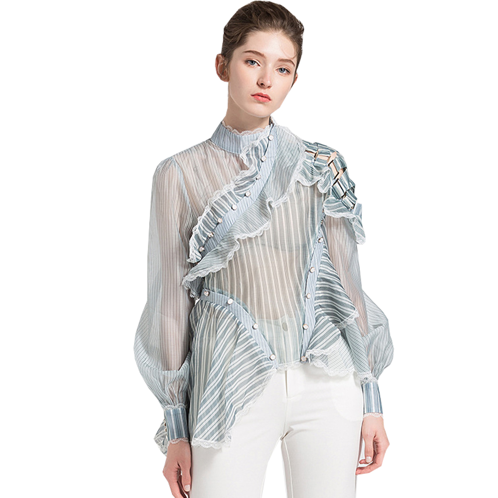 New Summer Organza Blouse Shirt Women Striped Tops Lace Ruffles Transparent Shirt Long Sleeve Stand Collar Patchwork Loose Top