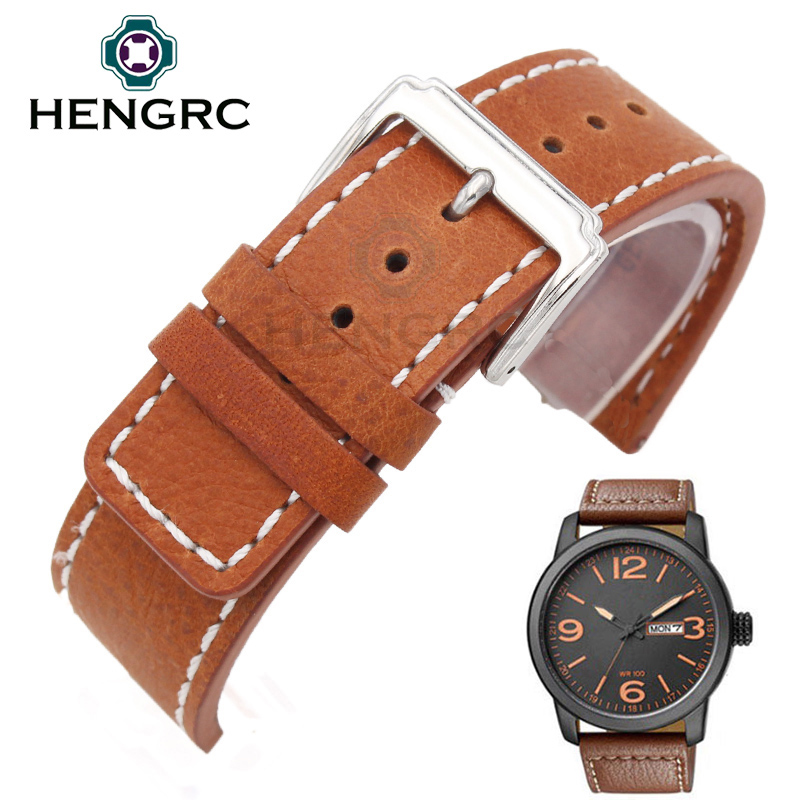 ФОТО HENGRC Wholesale 10pc/set Watch Strap Fashion Durable Men 20 22mm Genuine Leather Thick Watchbands Belt Metal Buckle Accessories