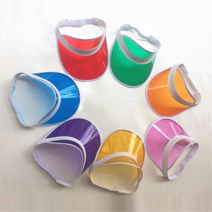 8pcs/lot Summer Candy Transparent PVC plastic Hats Women's Adjustable Multicolor Sun Visor Caps UV protection Beach Party Hats