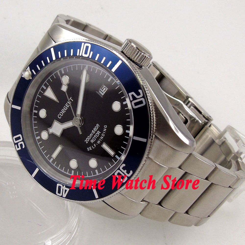 41mm Corgeut black dial white marks blue Bezel sapphire glass bracelet MIYOTA Automatic Men's watch men cor92 polisehd 41mm corgeut black dial sapphire glass miyota automatic mens watch c102