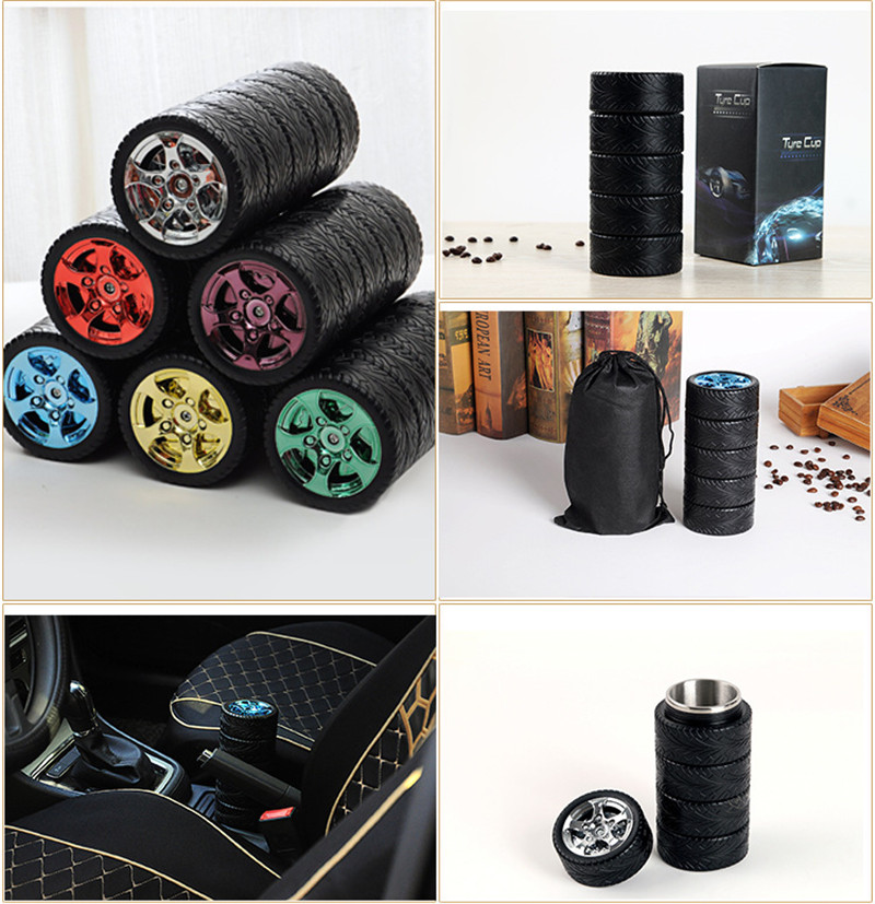 Stainless Steel Tyre Mug With Lid, New Fantastic Travel Coffee Mug (Tea Cup/Thermos Water/Bottle Novelty Gift )For Car Friend