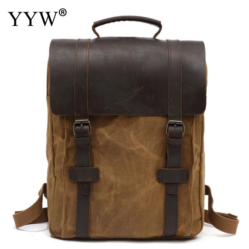 New Multifunction Fashion Men Backpack Vintage Canvas Backpack Leather School Bag Neutral Portable Wearproof Travel mochila mochilas designer genuine leather bag mochila ciclismo preppy style multifunction men canvas bag fb1125