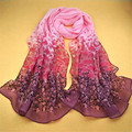 1PC Women Gradual Change Color Long Chiffon Wraps Shawl Soft Scarves