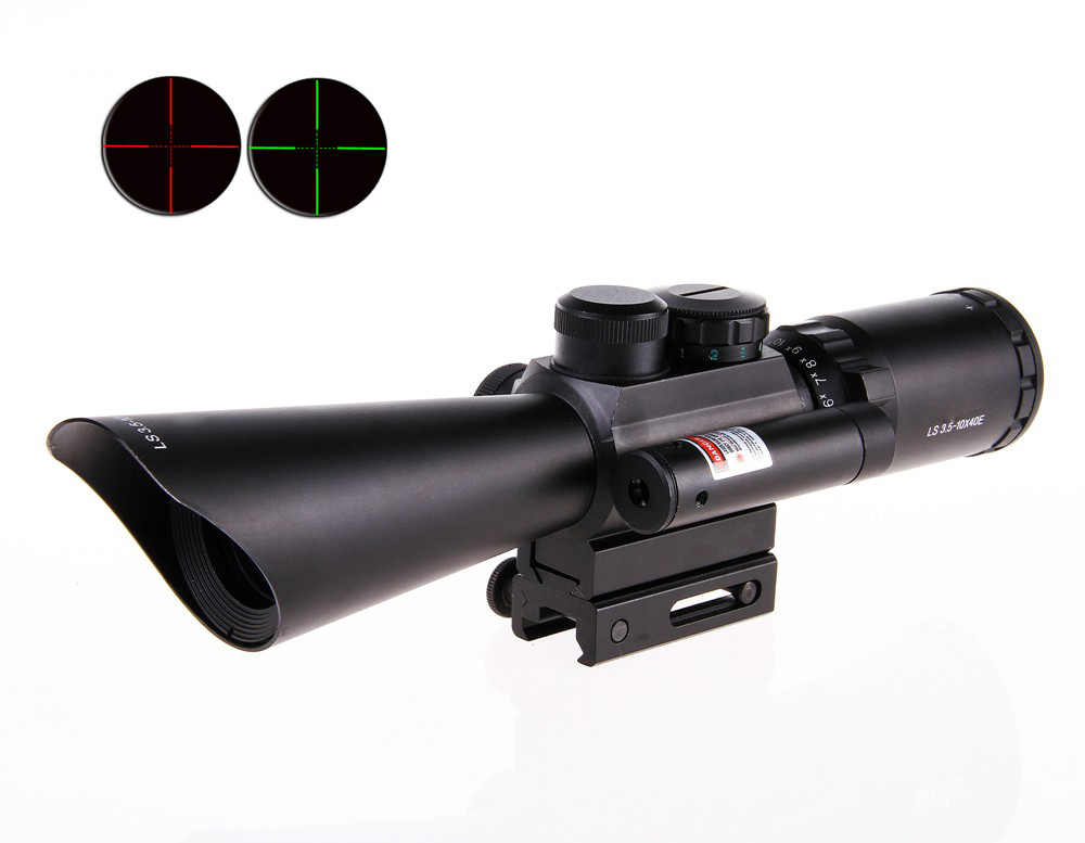 2016 NEW Tactical M8 Shooting Hunting Riflescope 3.5-10x40 Rifle Scope Optical Scopes With Red Laser Light hot sale 2 5 10x40 riflescope illuminated tactical riflescope with red laser scope hunting scope