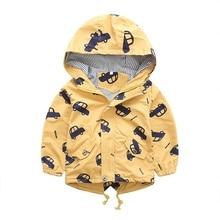 2017 Spring Fashion Jacket Boys Girls Kids Outerwear Cute Car Windbreaker Coats Print Canvas Baby Children Clothing