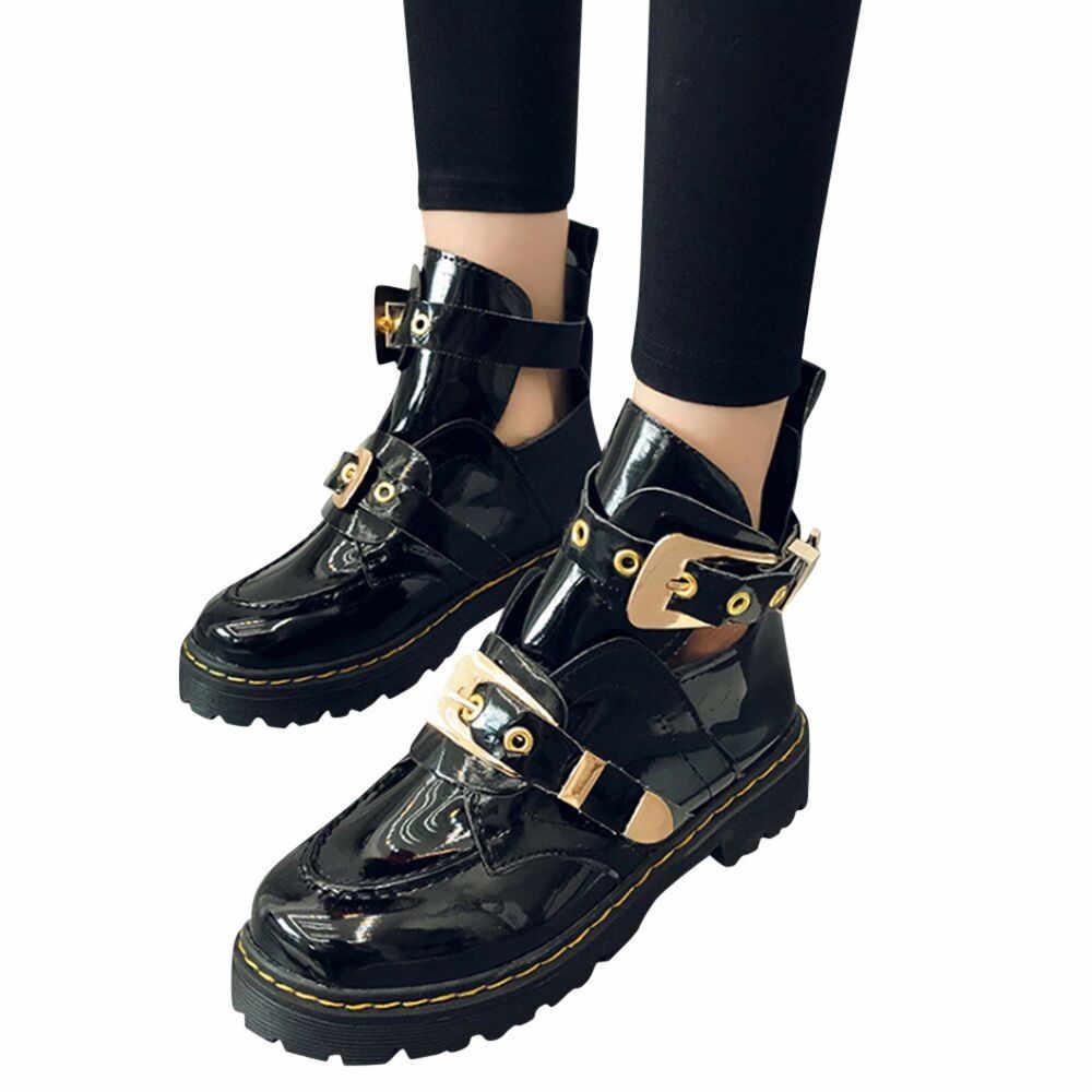 Punk kadın Martin çizmeler deri sonbahar motosiklet çizme düşük topuk toka ayakkabı su geçirmez platformu şık Botas Mujer parti
