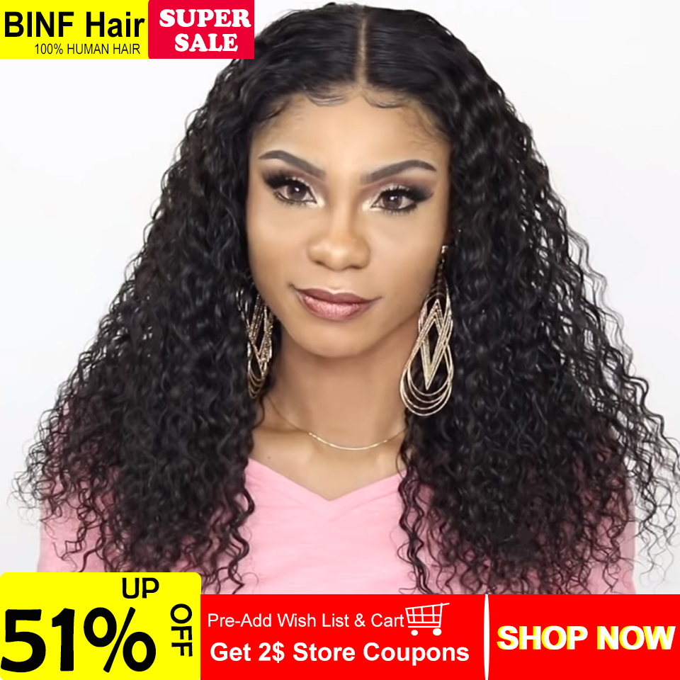 13x4 Lace Front Human Hair Wigs Pre Plucked For Women Brazilian Water Wave Lace Frontal Wig With Baby Hair BINF Remy Hair