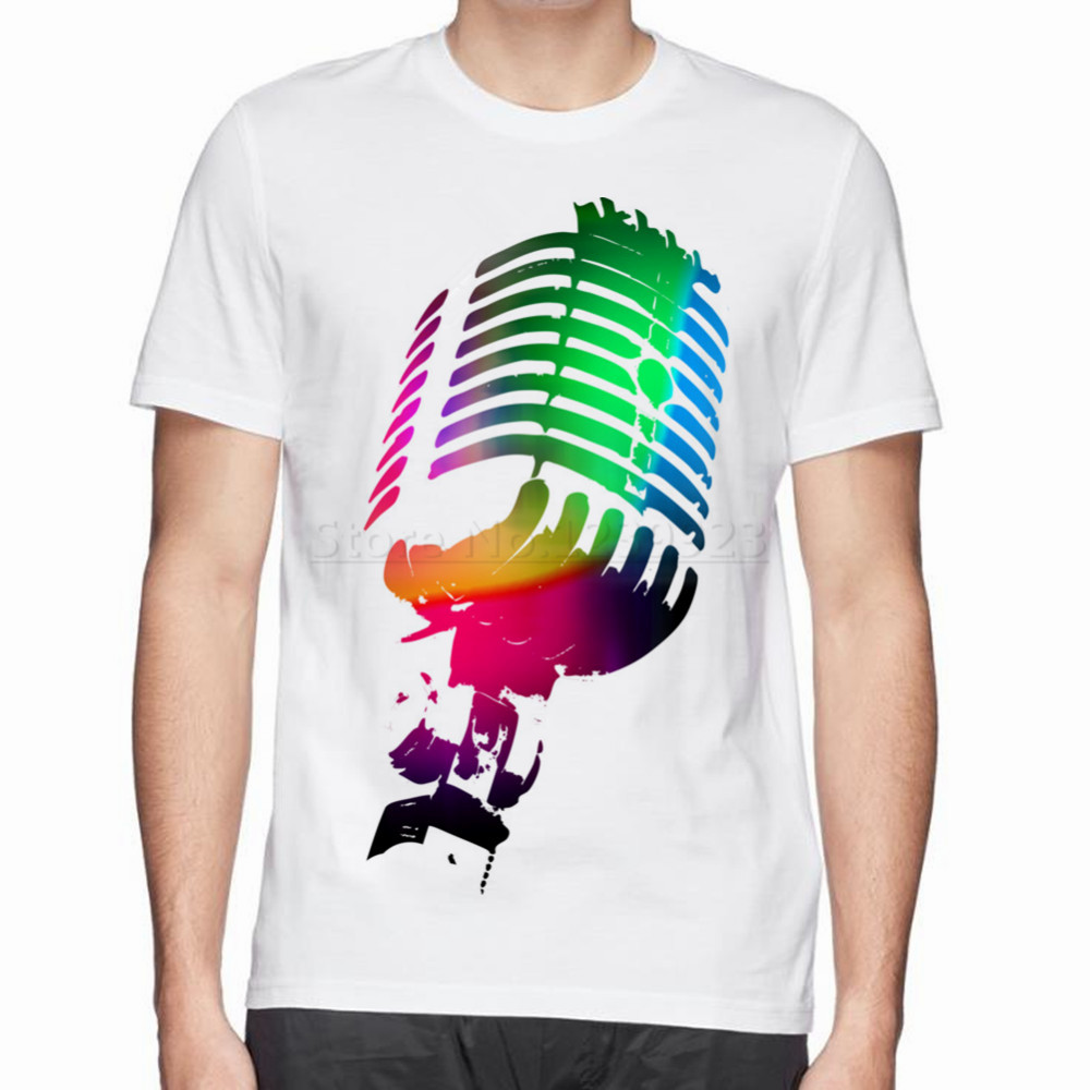 Design t shirt neon colors - Fresh Design The Neon Microphone Cotton T Shirt O Neck Tops Tees Hot New Style
