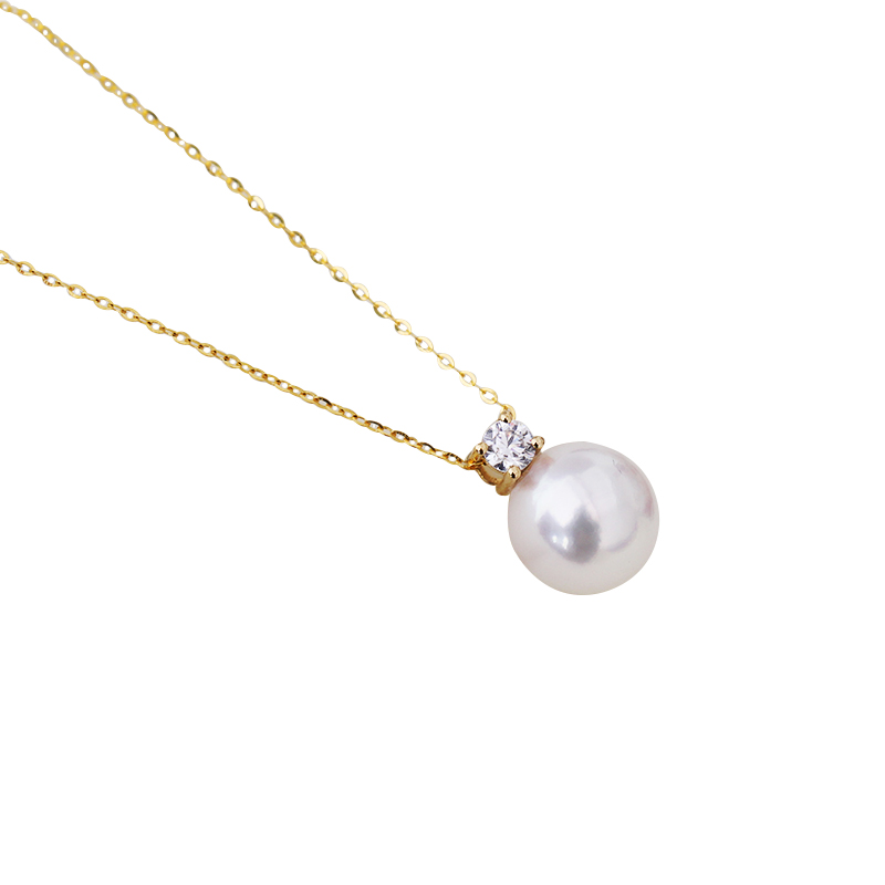 Real diamond princess pendant 8 5 10 5mm Natrual round pearl charm necklace in 18k Au750