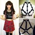 Женщины мода sexy Harajuku Шипованных Punk & Цветок Ручной Работы Кожа Тела Связывание Кейдж Скульптуры Жгут Пояс Грудной пояс